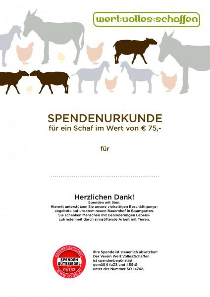 Spendenurkunde Schaf