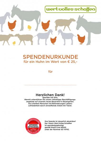 Spendenurkunde Huhn