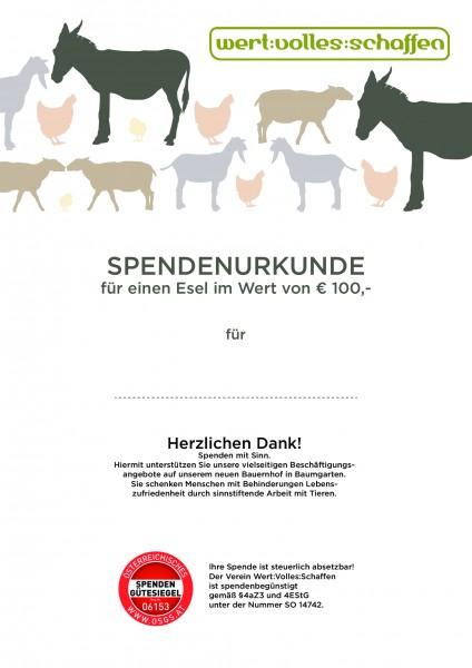 Spendenurkunde Esel
